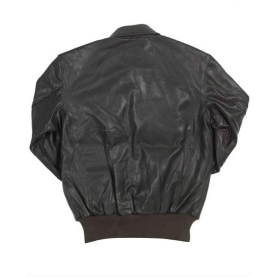 Men's Flight A-2 Black Leather Bomber Jacket