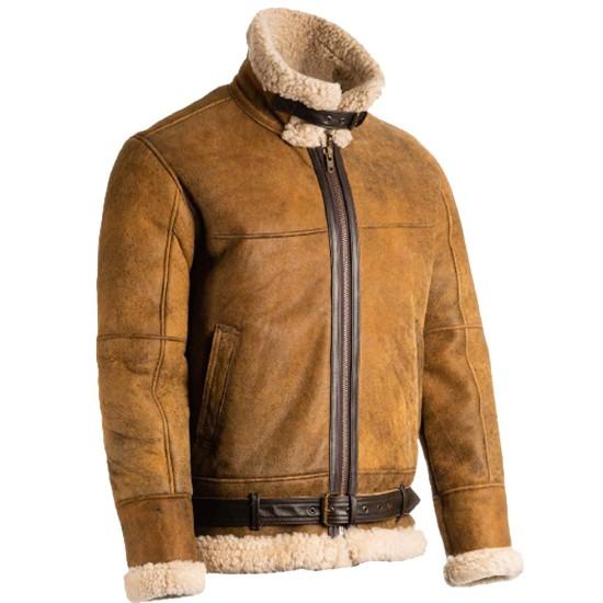 Men's Flight Aviator B3 Shearling Brown Leather Jacket