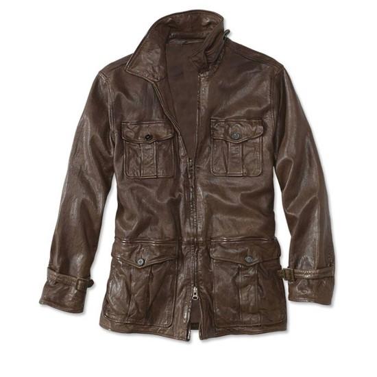 Men's Flap Pockets Motorcycle Fulton Brown Leather Jacket