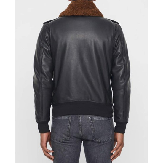 Men's Grain Black Leather Bomber Jacket with Brown Faux Fur Collar