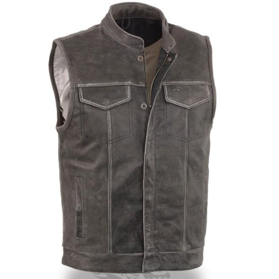 Men's Grey Leather Biker Vest