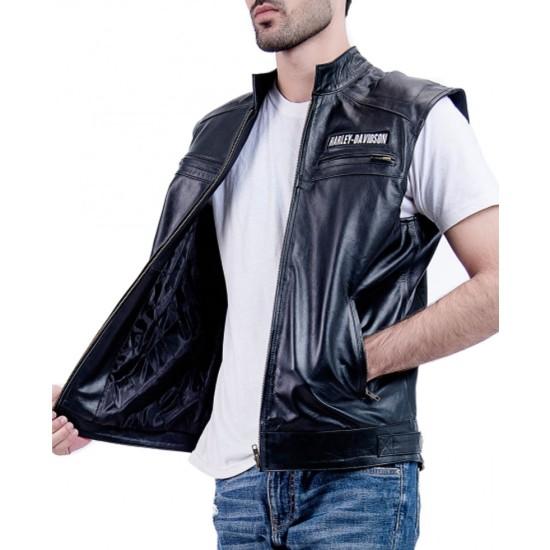 Men's Harley Davidson Moto Rider Leather Vest