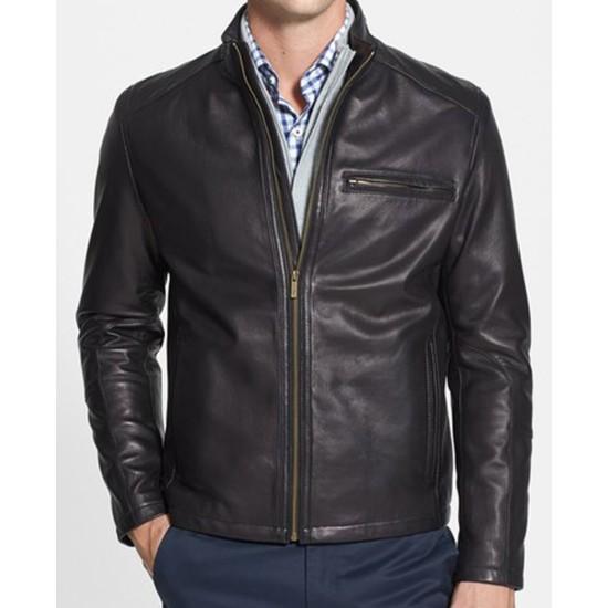 Men's Lakewood Black Leather Biker Jacket