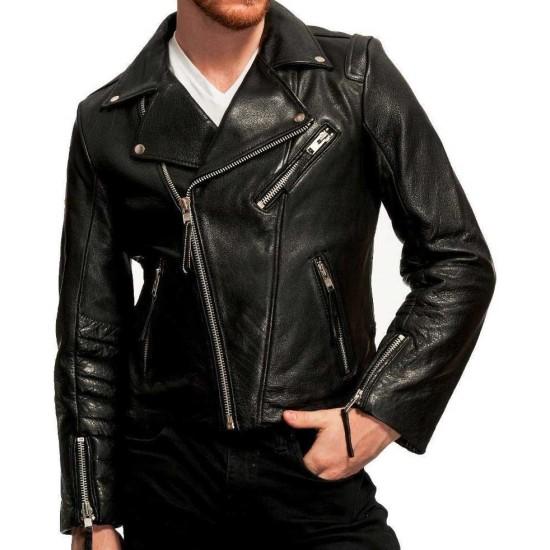 Men's Biker Black Lambskin Leather Jacket