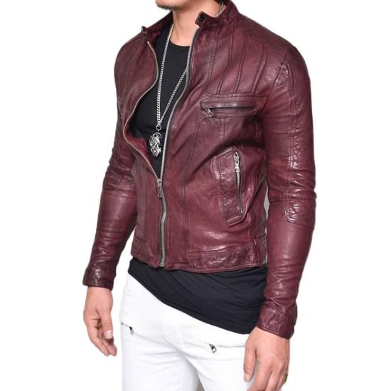 Men's Designer Diamond Quilted Lambskin Leather Jacket
