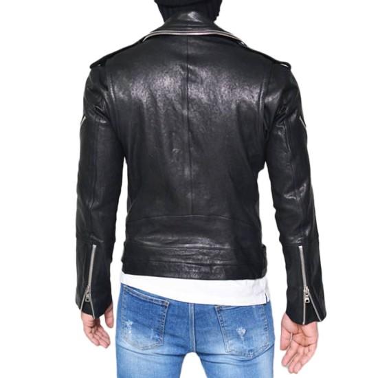 Men's Double Zip Collar Lambskin Black Leather Biker Jacket