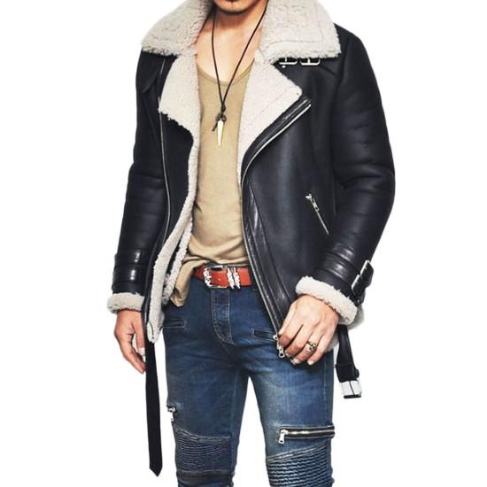 Men's Motorcycle Rider Lambskin Leather Shearling Jacket