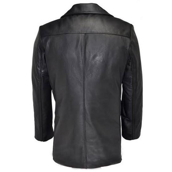 Men's Leather Pea Coat