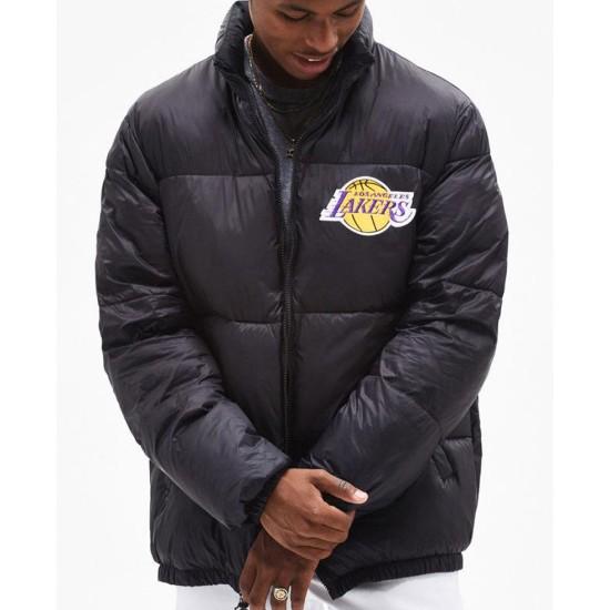 Men's Puffer Lakers Los Angeles Black Jacket