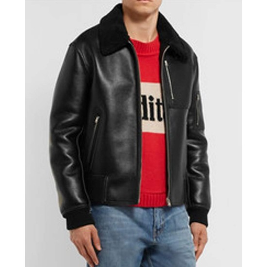 Men's MA 1 Bomber Black Leather Jacket with Fur Collar