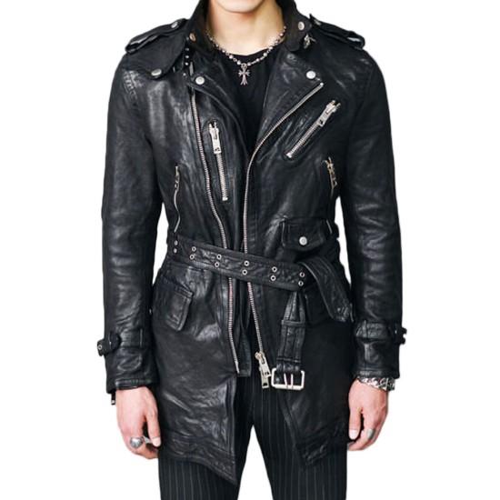 Men's Biker Mid Length Belted Black Leather Coat