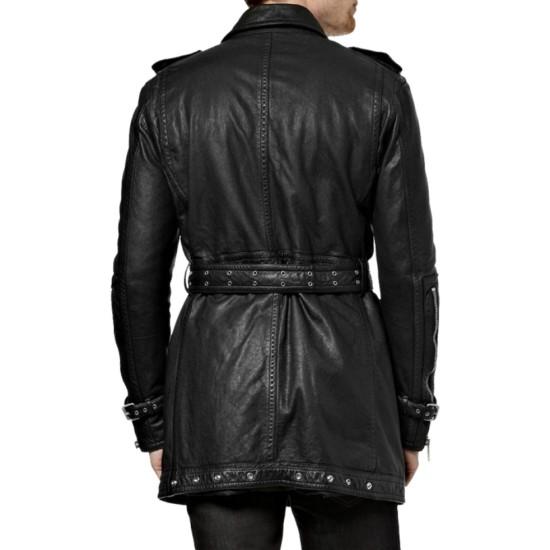 Men's Biker Mid Length Leather Coat