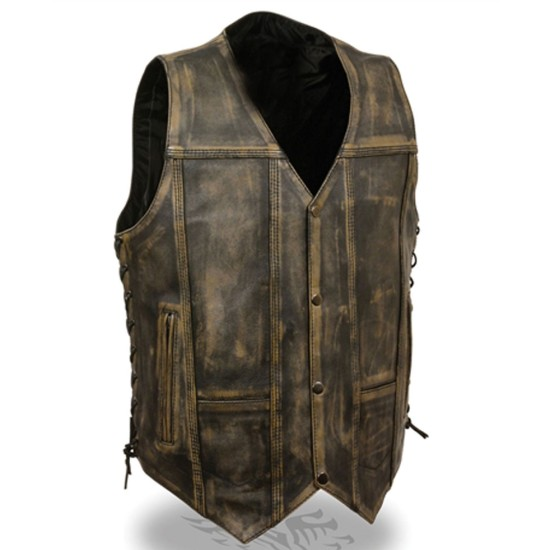 Men's Side Lace Distressed Brown Leather Motorcycle Vest