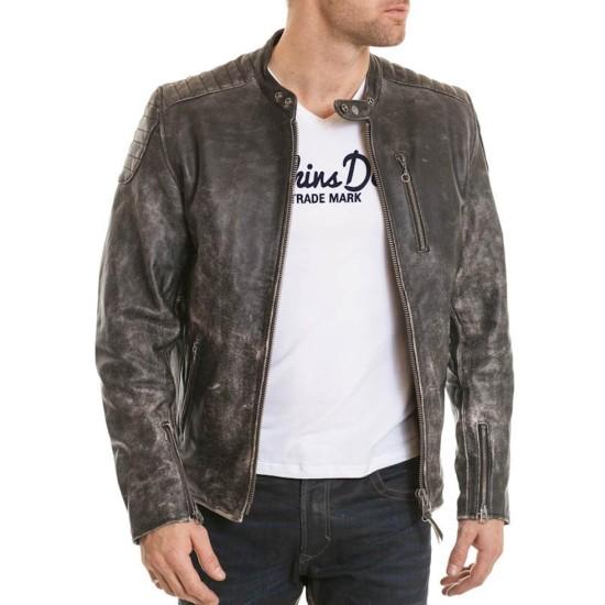 Men's Vintage Moto Collar Black Leather Jacket