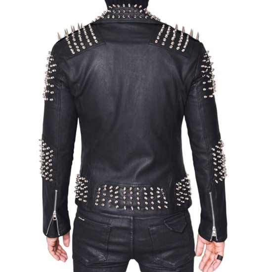 Men's Biker Spiked Black Lambskin Leather Jacket