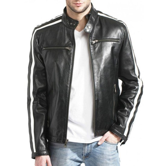 Men's White Striped Desing Biker Style Black Leather Jacket