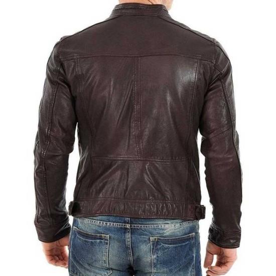 Men's Casual Biker Style Dark Brown Leather Jacket