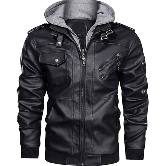 Men's Bomber Motorcycle Black Leather Jacket with Hood