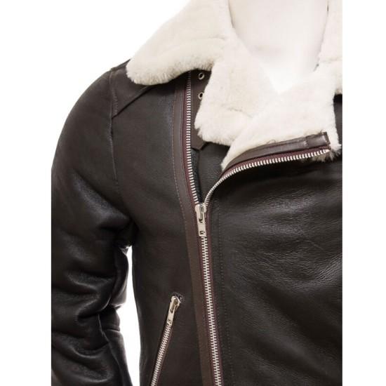 Men's WFJ456 Motorcycle Shearling Brown Leather Belted Jacket