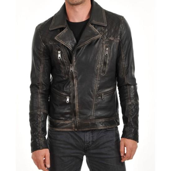 Men's Biker Asymmetrical Zipper Waxed Brown Leather Jacket