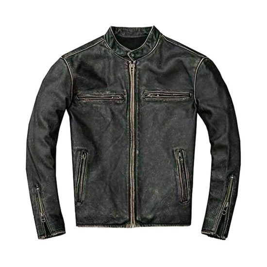 Men's Faded Black Leather Motorcycle Jacket