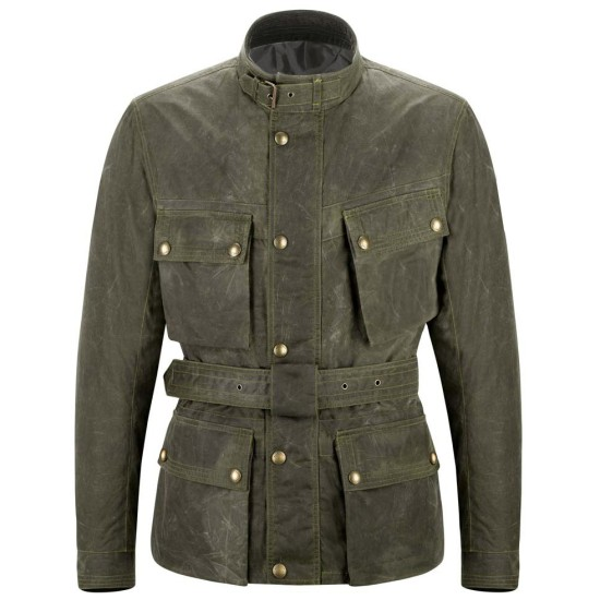 Men's Biker Olive Green Leather Belted Jacket
