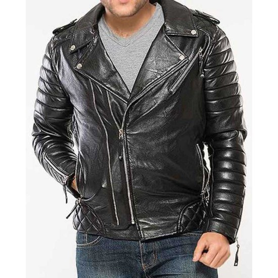 Men's Asymmetrical Biker Padded Black Leather Jacket