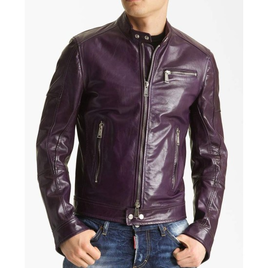 Men's Casual Faux Leather Purple Motorcycle Jacket