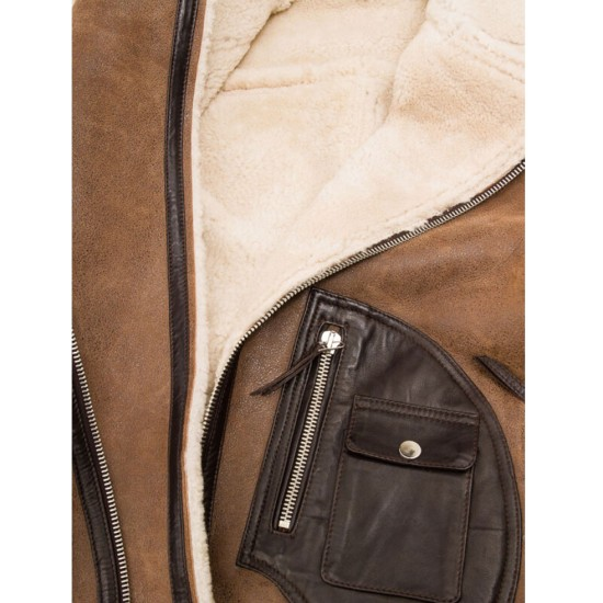 Men's Motorcycle Asymmetrical Brown Distressed Leather Shearling Jacket