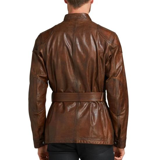 Men's Biker Belted Waxed Brown Leather Jacket