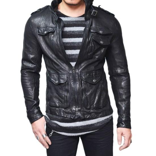 Men's Wrinkled Black Lambskin Leather Jacket