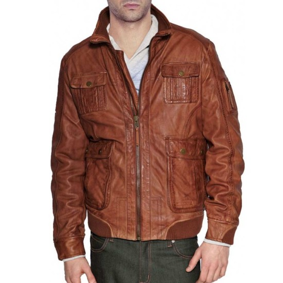 Men's Unique Style Bomber Tan Brown Leather Jacket