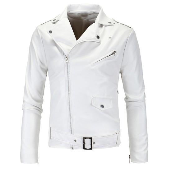 Men's Nevada White Leather Biker Jacket