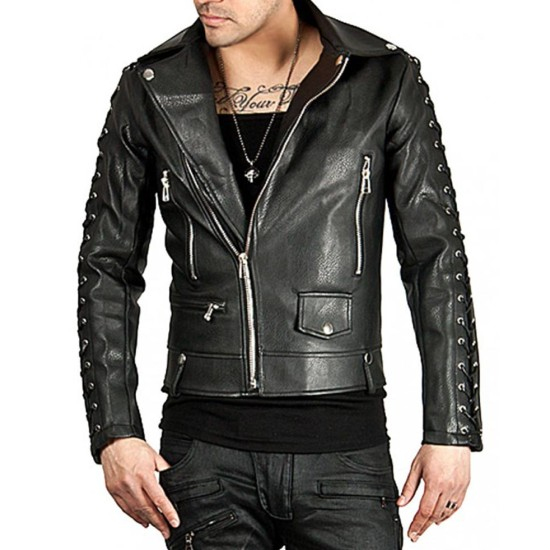 Men's Laces Sleeves Design Black Leather Biker Jacket