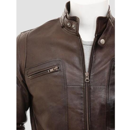 Men's New York Brown Leather Biker Jacket
