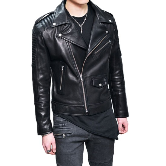 Men's Motorcycle Padded Design Asymmetrical Black Leather Jacket