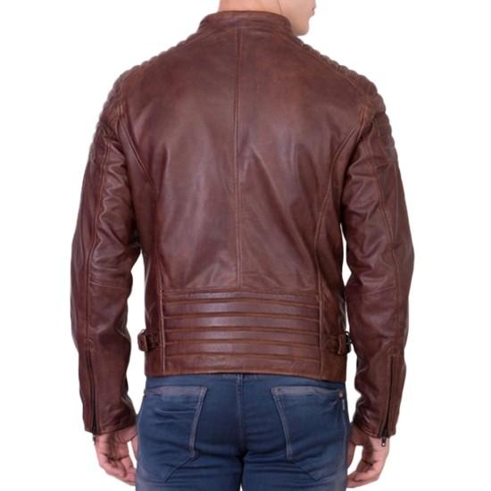 Men's Biker Padded Shoulder Brown Leather Jacket