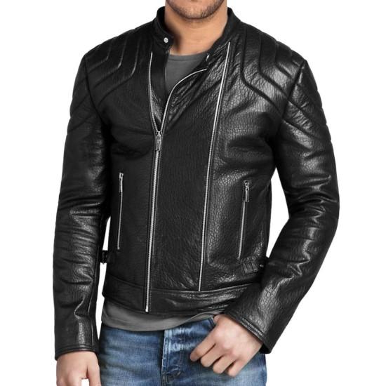 Men's Asymmetrical Zipper Padded Shoulder Black Leather Jacket