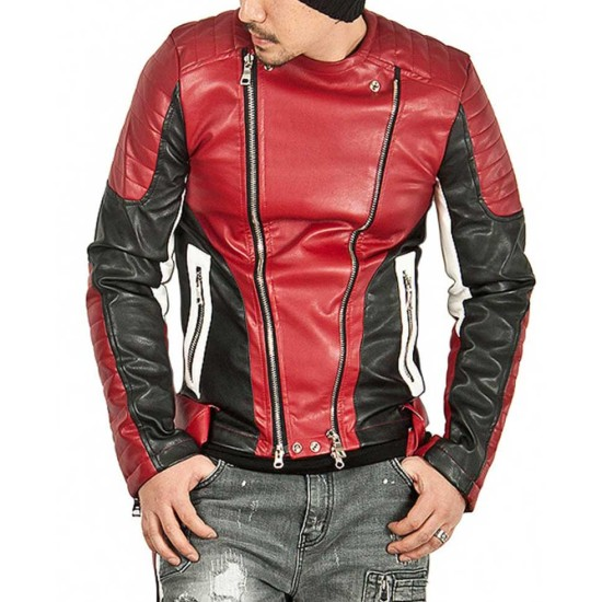 Men's Padded Sleeves Design Red Leather Biker Jacket