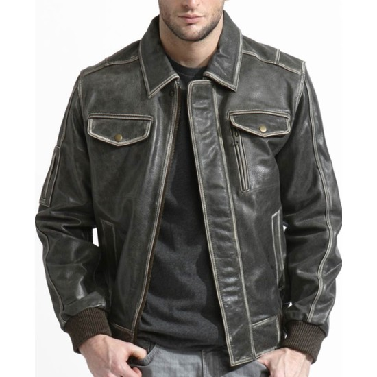 Men's Phoenix Bomber Distressed Brown Leather Jacket