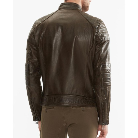 Men's Brown Waxed Leather Quilted Moto Jacket