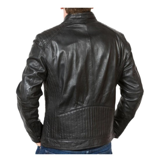 Men's Snap Tab Collar Quilted Shoulder Black Motorcycle Jacket
