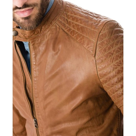 Men's Tan Brown Snap Tab Collar Quilted Shoulder Jacket