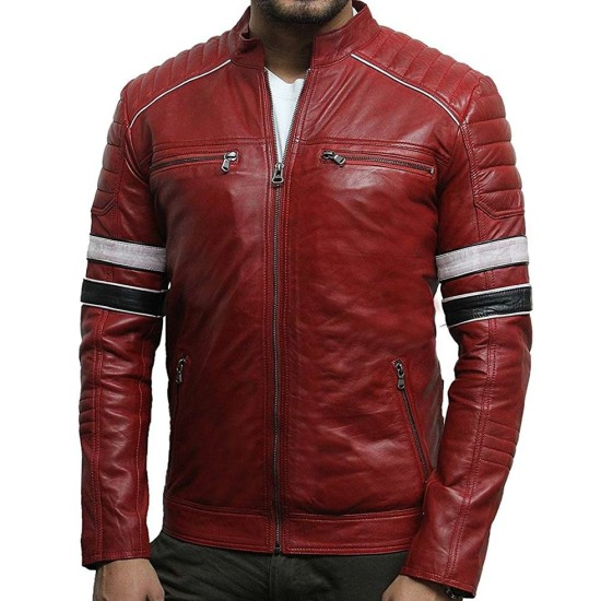 Men's Quilted Shoulders Motorcycle Red Leather Jacket