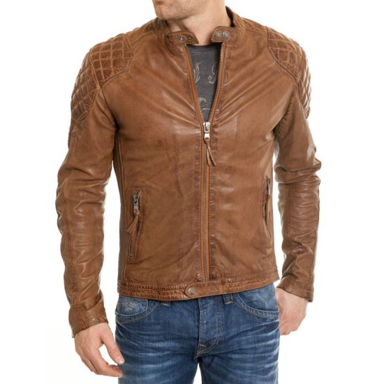 Men's Waxed Leather Quilted Shoulders Brown Motorcycle Jacket