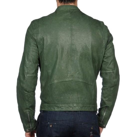 Men's Casual Wear Green Leather Motorcycle Jacket