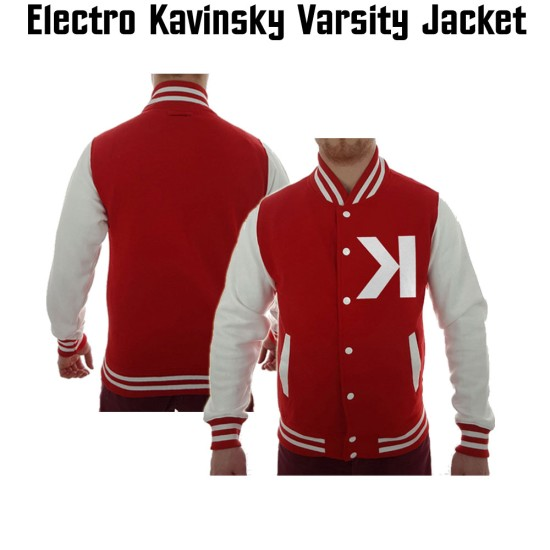 Men's Kavinsky Electro Varsity Red and White Jacket