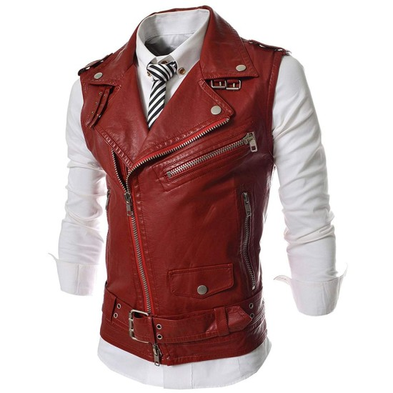 Men's Slim Fit Red Leather Vest