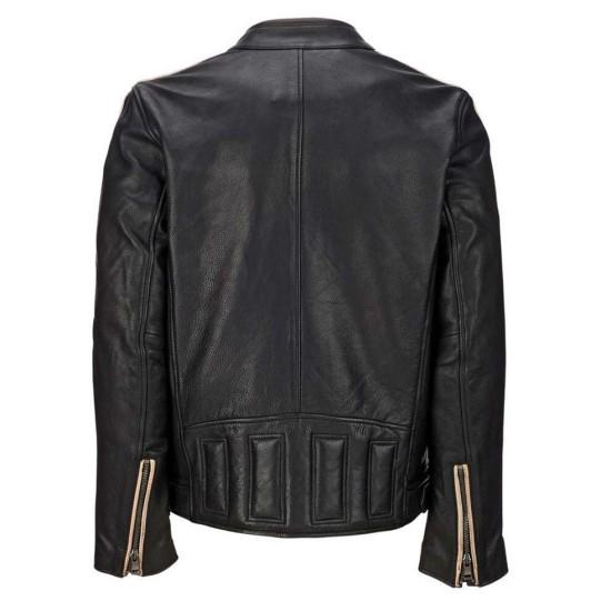 Men's Cafe Racer Retro Black Leather Jacket