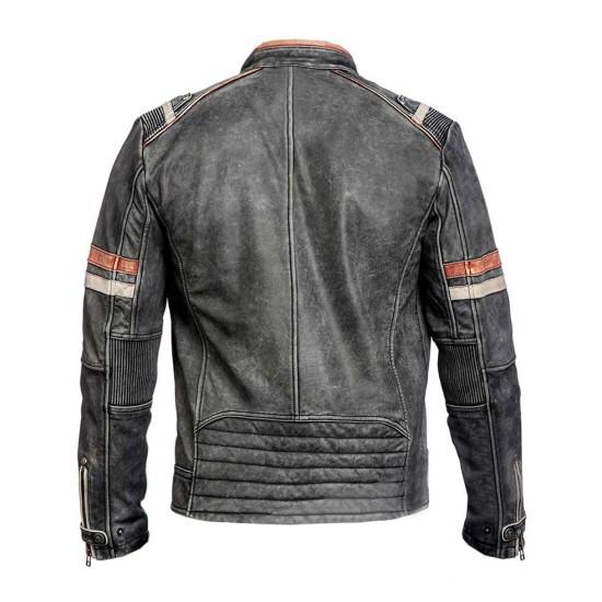 Men's Motorcycle Retro Cafe Racer Black Leather Jacket